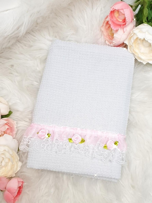 White Rose Trim Waffle Detail Tea Towel
