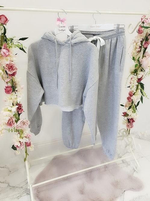 Bec Grey Cropped Hooded Loungewear Set