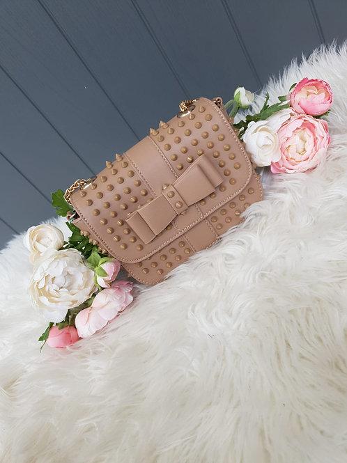 Studded Bow Bag - Nude