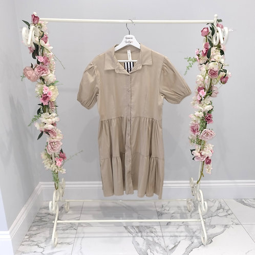 Nude Layla Layered Smock Button Up Dress