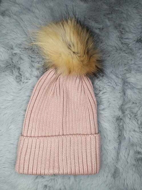 Chunky Knit Hat with Detachable Fur Pom