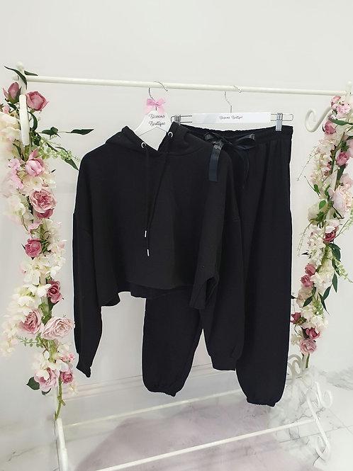 Bec Black Cropped Hooded Loungewear Set