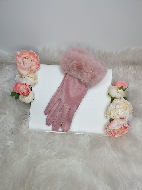 Luxury Suede Gloves with Faux Fur Trim