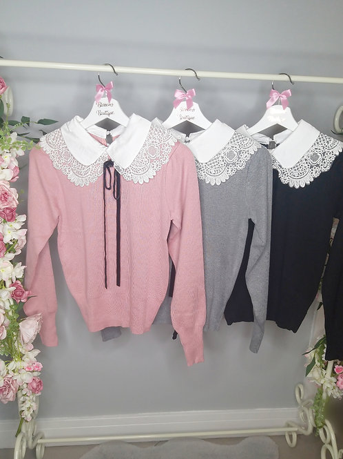 Crystal Jumper with Lace Collar and Velvet Tie Detail