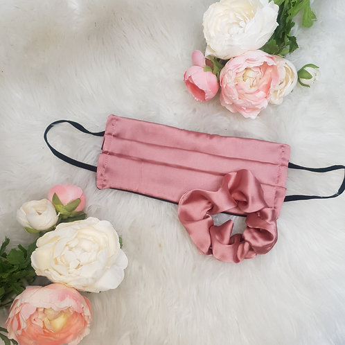 Rose Pink Duchess Satin Face Mask and Scrunchie Set