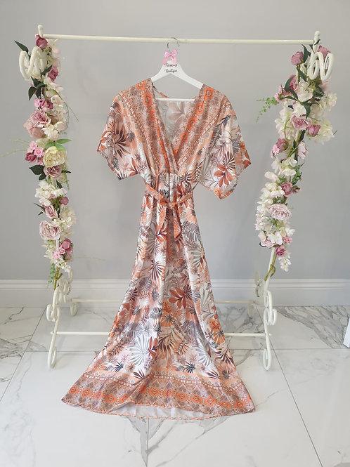 Vivienne Patterned Satin Maxi Dress