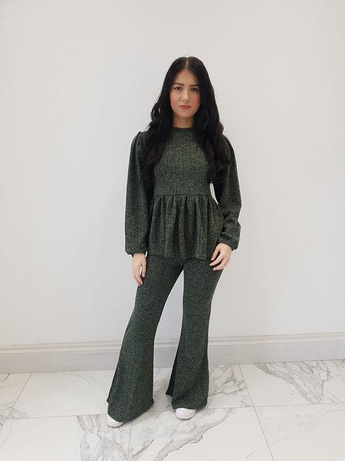 Ruby Khaki Peplum Ribbed Loungewear