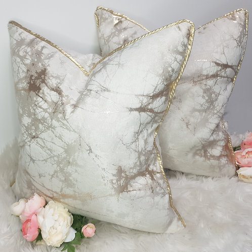 Set of 2 Cream and Gold Marble Cushion Covers