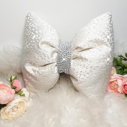 White Leopard Satin Bow Cushion