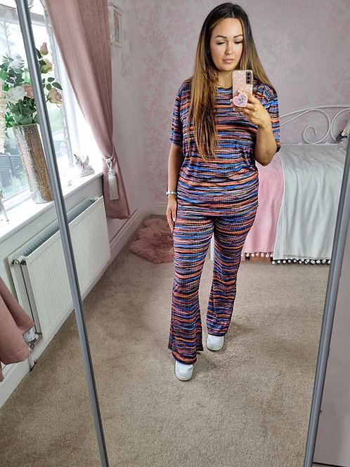 Marnie Blue Multi Coloured Oversized Top & Flared Trouser Co-ord