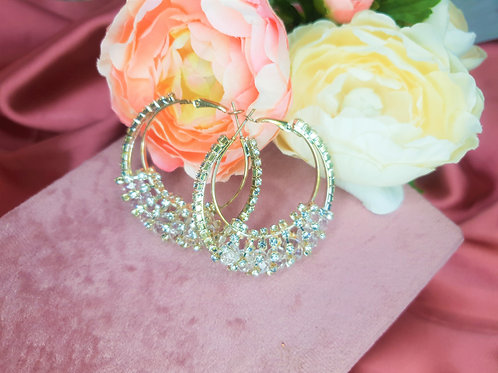 Silver Sparkle Bling Hoops