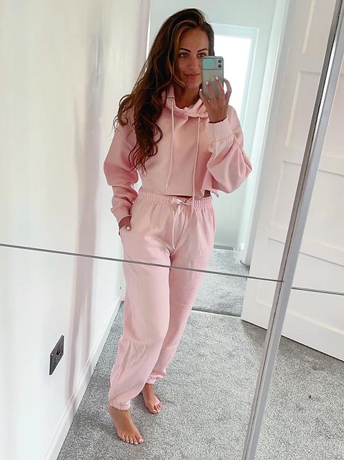 Bec  Baby Pink Cropped Hooded Loungewear Set