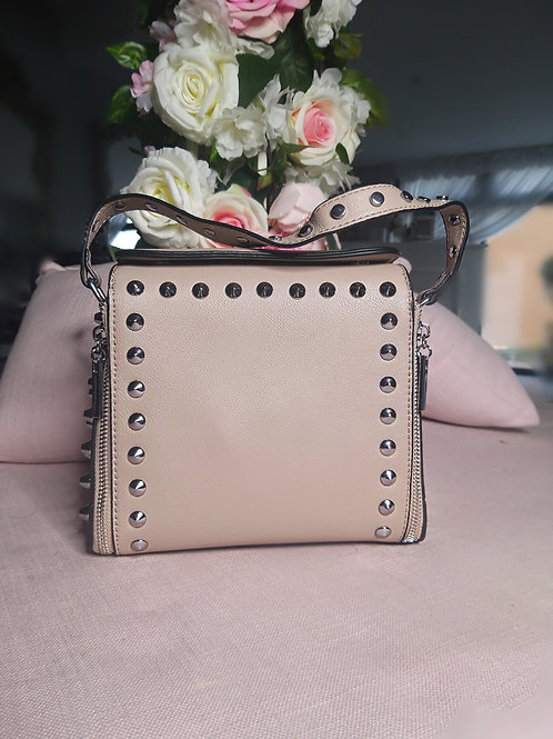 Large Studded Leather Effect Cross Body Bag