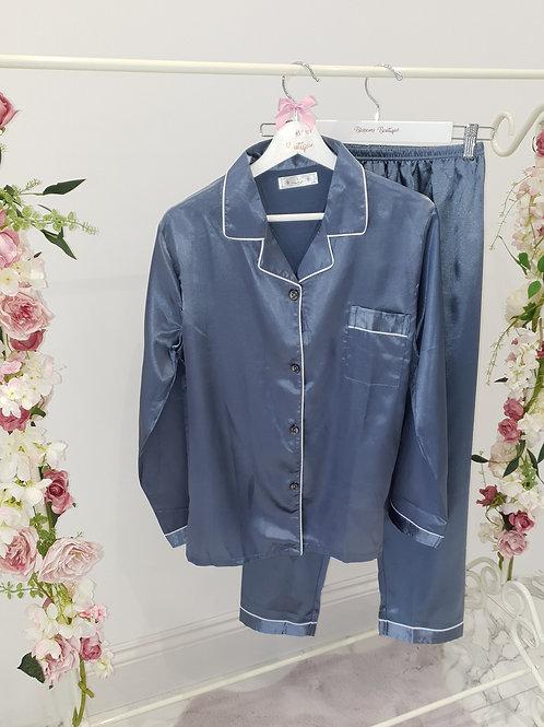 Belle Satin Blue Grey Pyjamas