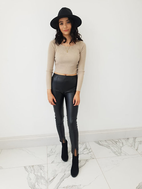 Liana Ruche Side Ribbed Crop Top
