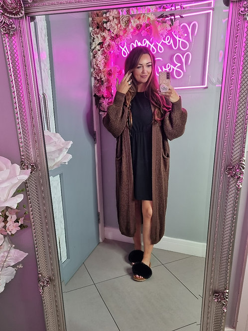 Danielle Chocolate Bell Sleeve Long Knitted Cardigan