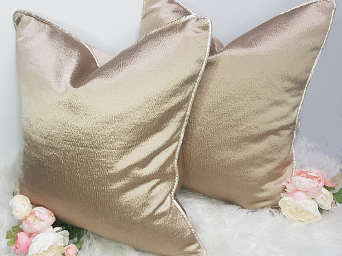 Set of 2 Satin Gold Cushion Covers