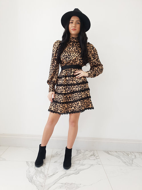 Melanie Leopard Silk Ruffle Dress