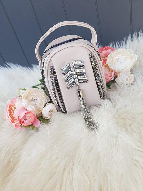 Nude Embellished Tote/Crossbody Bag