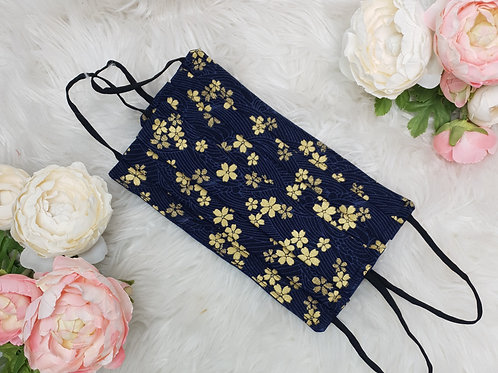 Navy and Gold Flower Face Mask