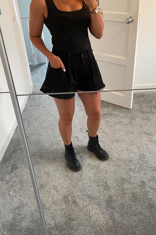 Black Lucia Denim Flare Short
