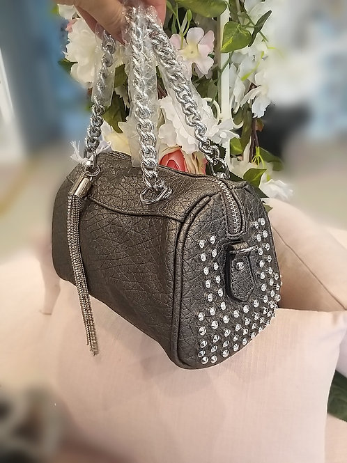 Leather Effect Studded Bag with Crystal Charm