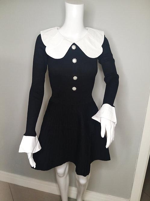 Wednesday Black Skater Style Knitted Dress