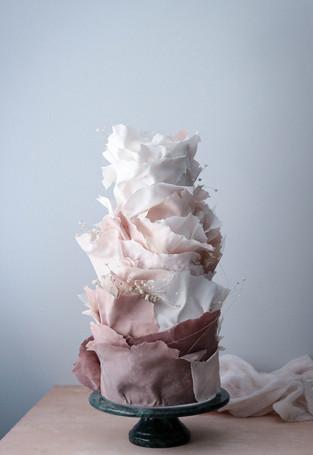 Contemporary ruffle wedding cake