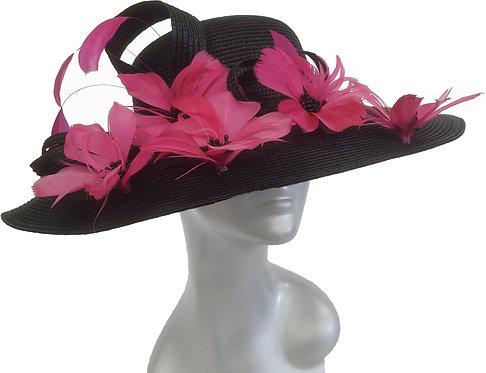 Women's Black/Fuchsia Women's Wide Brim Poly Braid Dressy Derby Hat #PPH555