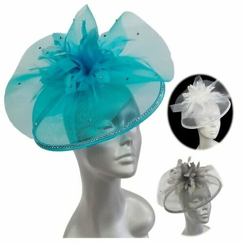 Women's beautiful crinoline cocktail fascinator Hat feather stones #161052