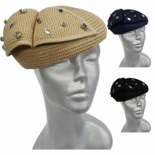 Women's Straw Braid Derby Synagogue Beret Fascinator Hat #ZH071 (Stones)