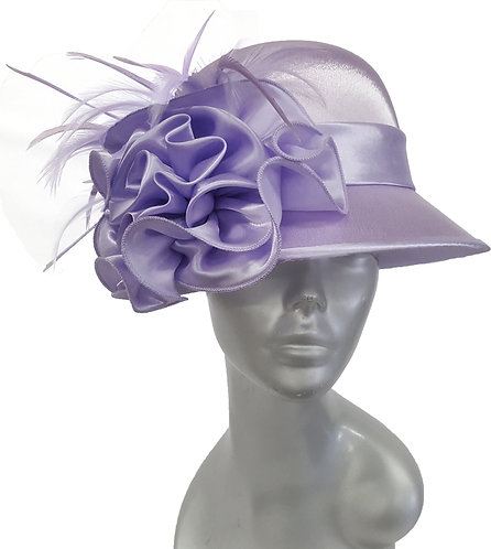 Women's Dressy designer satin covered Straw Derby church Hat Lavender #18449