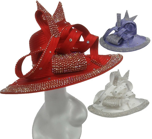 Women's round crown Satin Ribbon Church Designer Couture Bridal Derby Hat #H3056