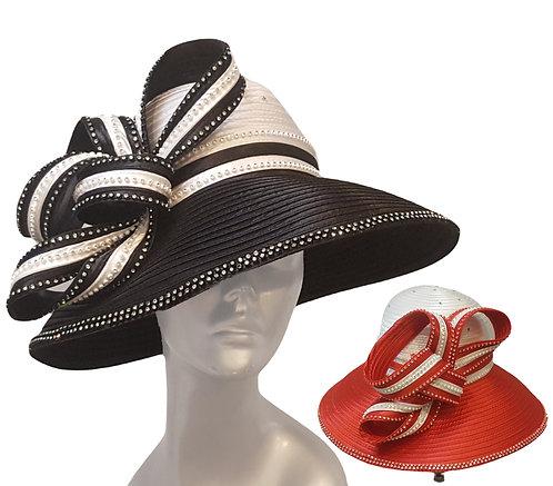 Women' Two Tonw Rhinestones satin ribbon church Designer Couture hat
