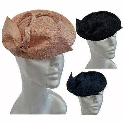 Women's Lace Covered Sinamay pillbox cocktail fascinator Church Synagogue#SW9070