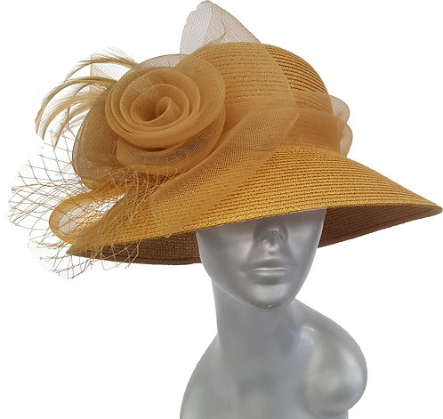 Tan Women's Poly braid packable straw hat for summer occasion #CM1102