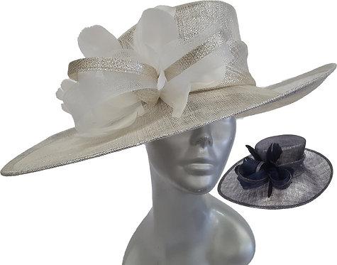 Women's Oversized Metallic Sinamay straw hat for Derby, Easter Hat #SW9061
