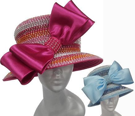 Women's round crown Satin Ribbon Church Designer Couture Bridal Derby HaT #H200