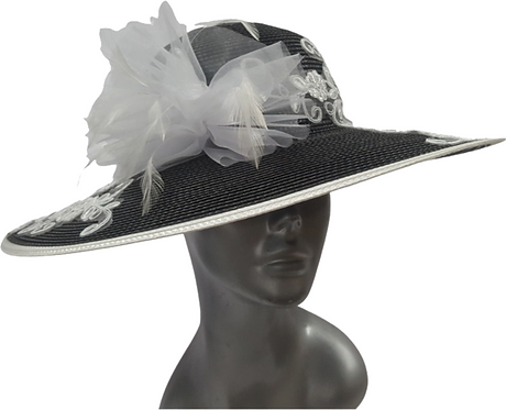 Women's Black/White Poly braid hand sewed designer hat perfect for Derby #18112