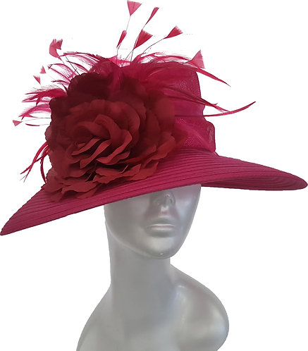 Women's Sinamay Straw Derby Preakness Belmont Stakes church Hat Fuchsia #1856