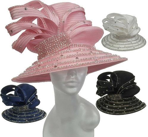 Women's HIGH CROWN Crystal Rhinestone Satin Ribbon Dressy Hat #H1950
