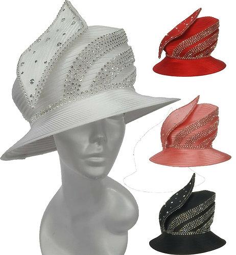 Women's Leaf rhinestones Designer Couture Satin Ribbon Church Wedding Hat #H1836