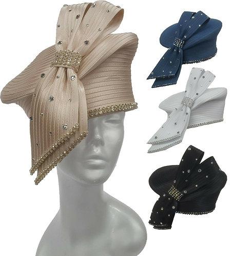 Women's Designer Couture Satin Ribbon Church Temple bridal Flapper Hat #H2707