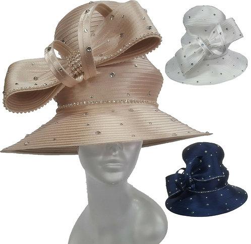 Women's Year Around Wedding Dressy church Satin Ribbon Couture Hat #H1893