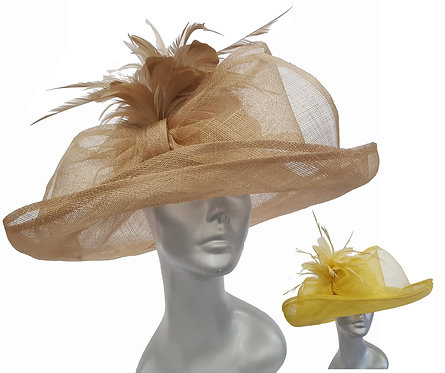 Women's Oversized straw bow sinamay Derby Easter Sunday Church sun hat #SW9077