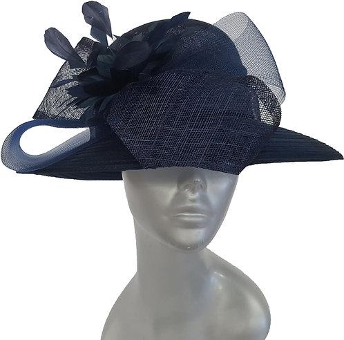 Women's Sinamay Straw Derby Preakness Belmont Stakes church Hat Navy #18172
