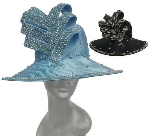 Women's All year around Crystal Rhinestone Satin Ribbon Dressy Church Hat #TT283