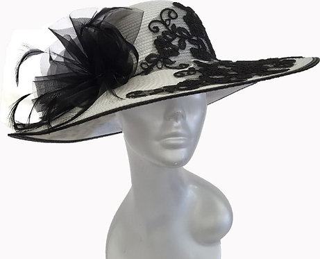 Women's White/Black Poly braid hand sewed designer hat perfect for Derby #18112