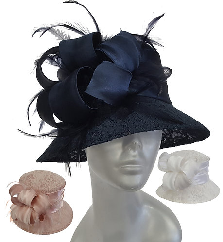 Women's Lace covered Designer Couture Derby Easter Sunday Sinamay hat #SW9062