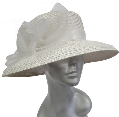 Women's Poly braid packable straw hat for summer occasion - White #CM1109